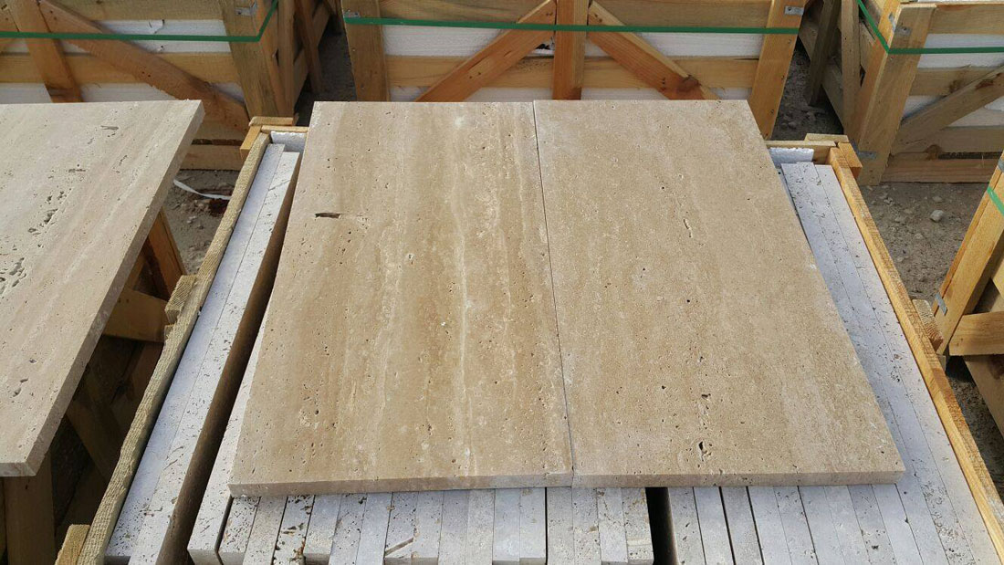 Cream Travertine Tiles Polished Flooring Tiles