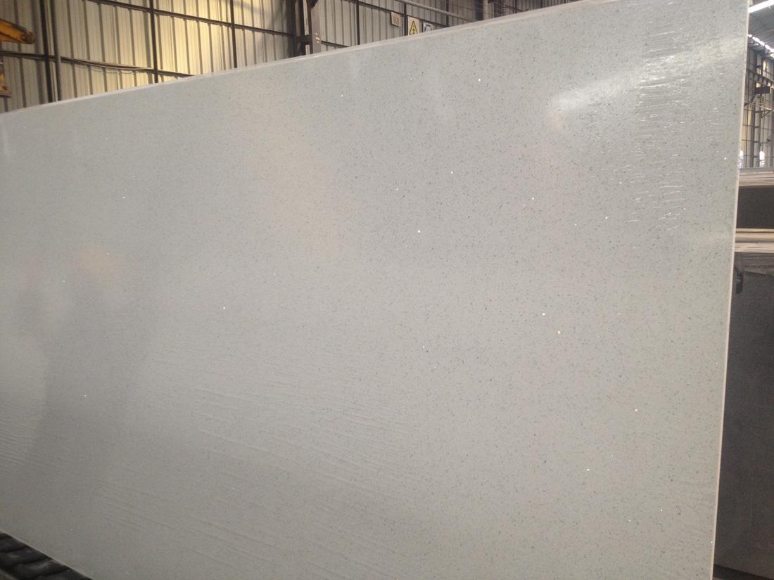 Crystal Pearl Galaxy Sparking White Artificial Quartz Stone Slabs