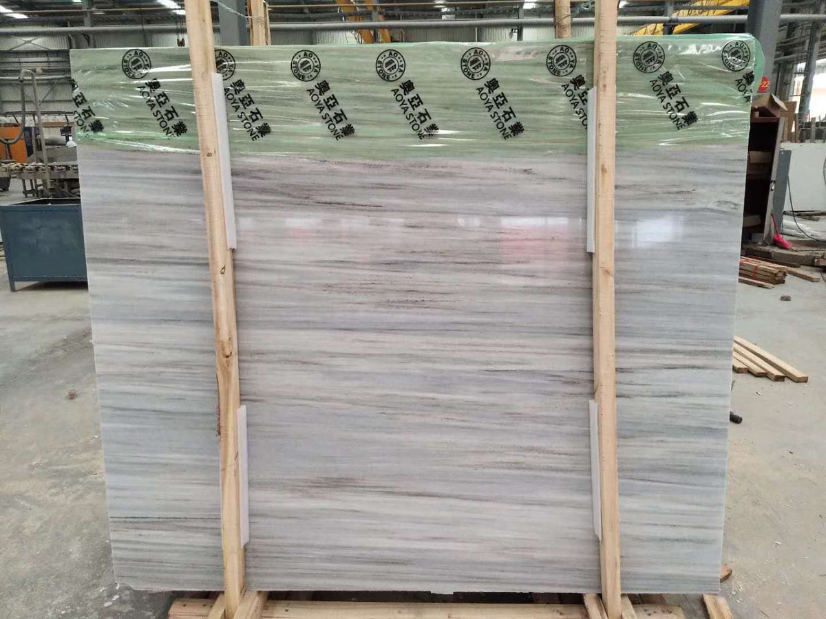 Crystal Wood Grain White Marble Slabs Tiles with High Quality