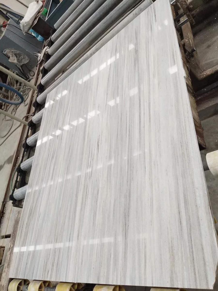 Crystal Wood Grain White Marble Slabs Tiles