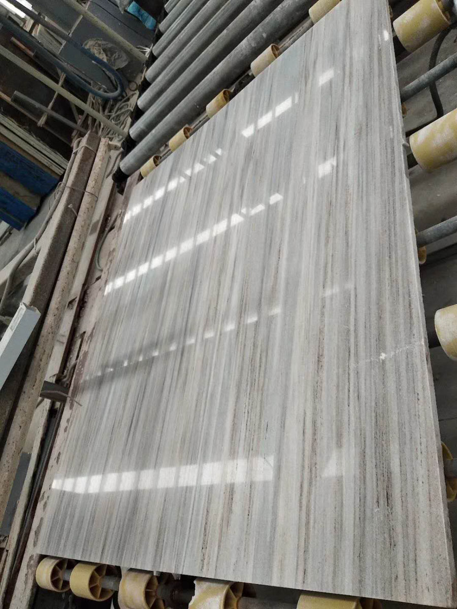 Crystal Wood Grain White Marble Slabs from Chinese Supplier