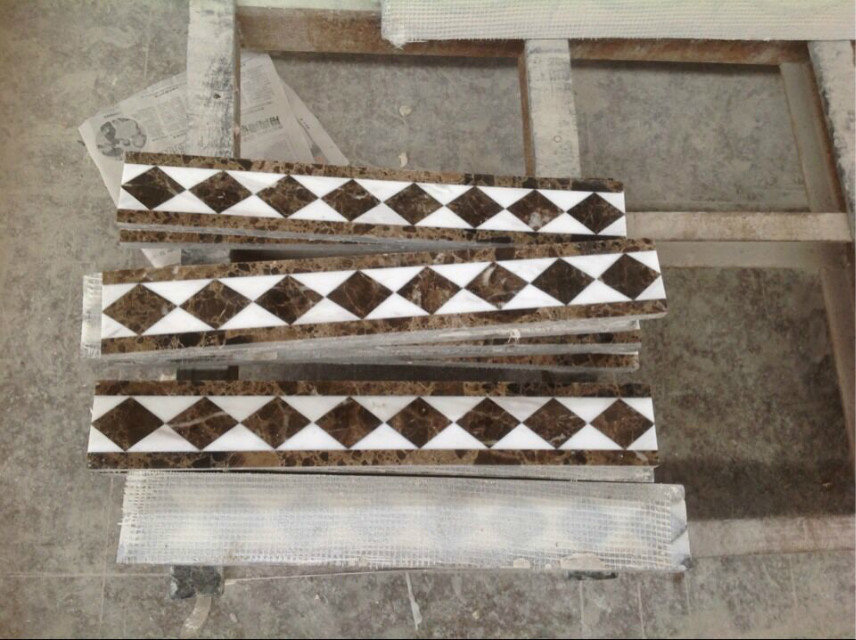 Customized White Brown Board Line Marble Tiles