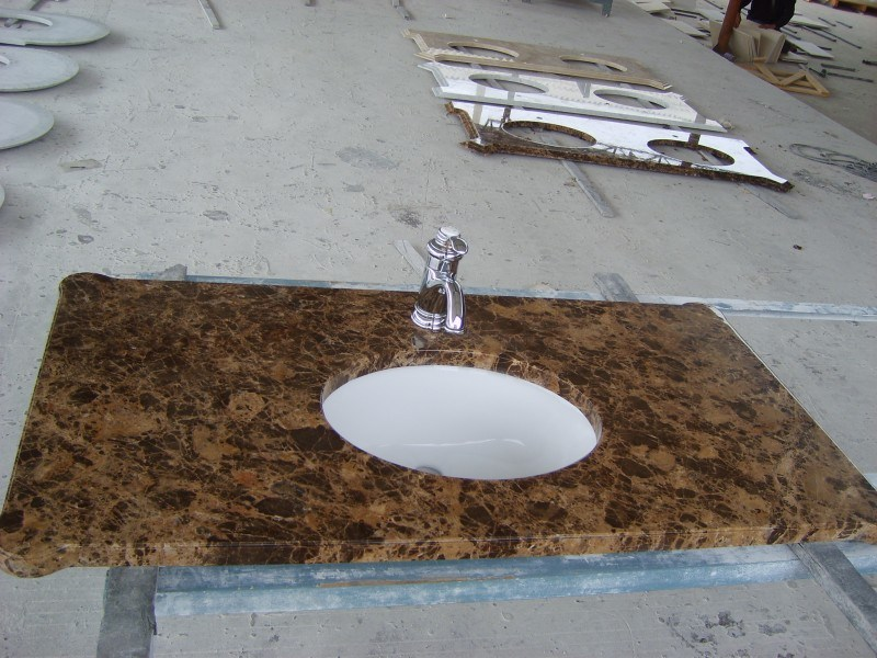 Dark Castanho Emperador Brown Marble Bathroom Vanity Tops