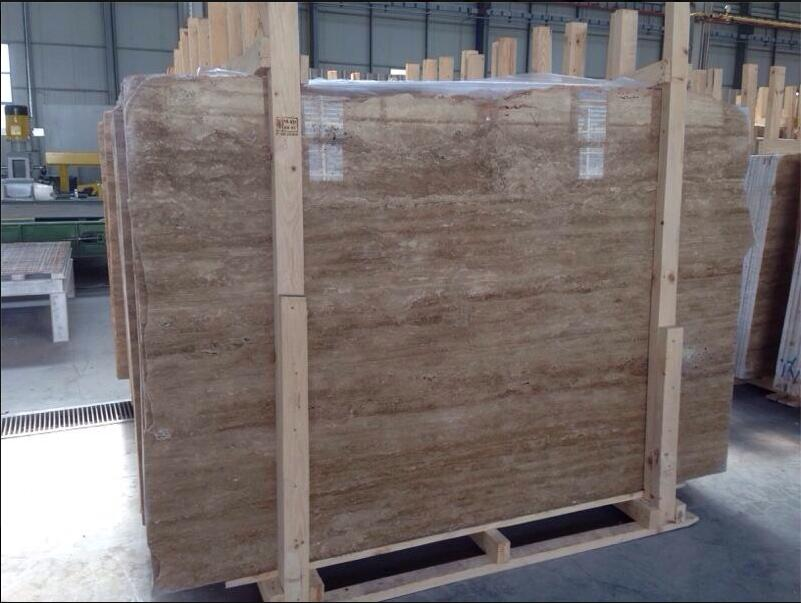 Dark Walnut Travertine Stone Slabs Polished Brown Travertine Slabs