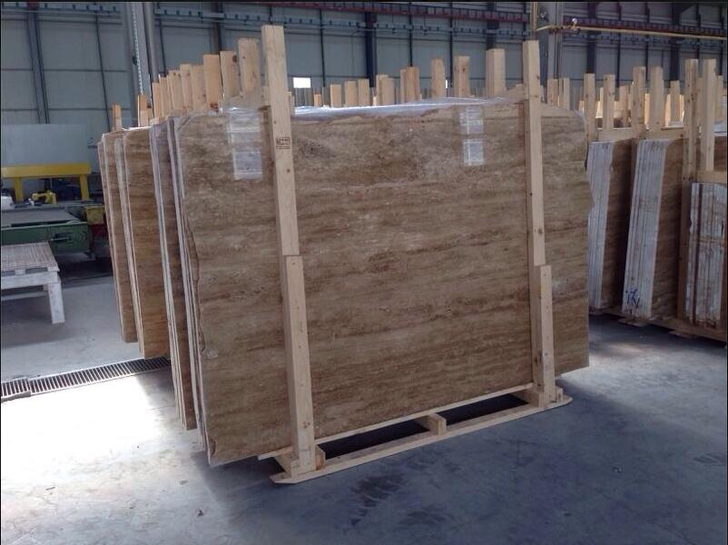 Dark Walnut Travertine Stone Slabs Turkish Brown Travertine Slabs