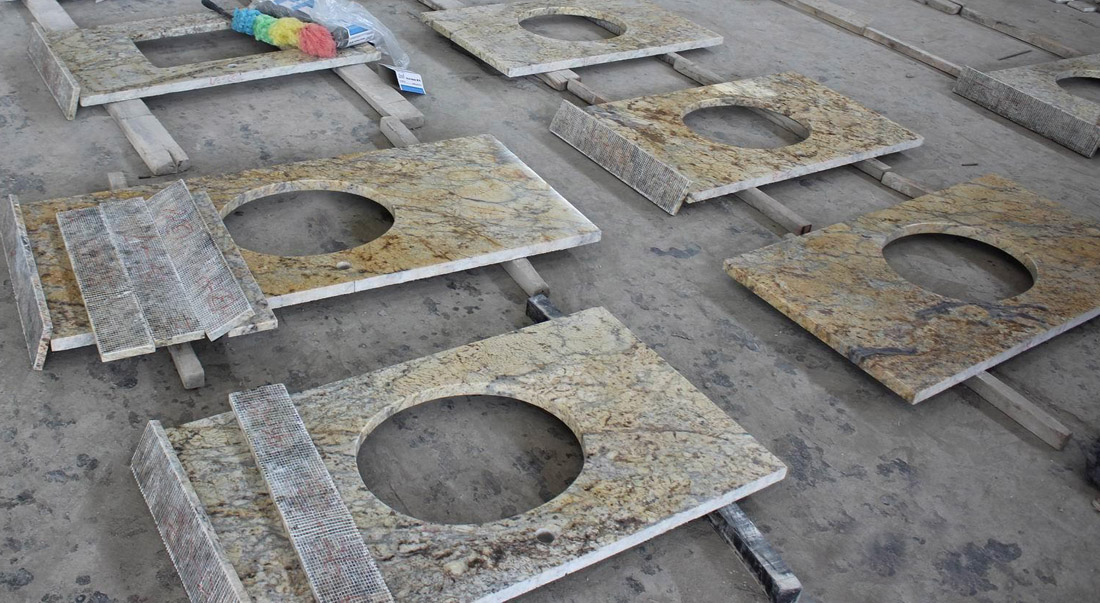 Diamond Gold Granite Polished Vanity Tops for Bathroom