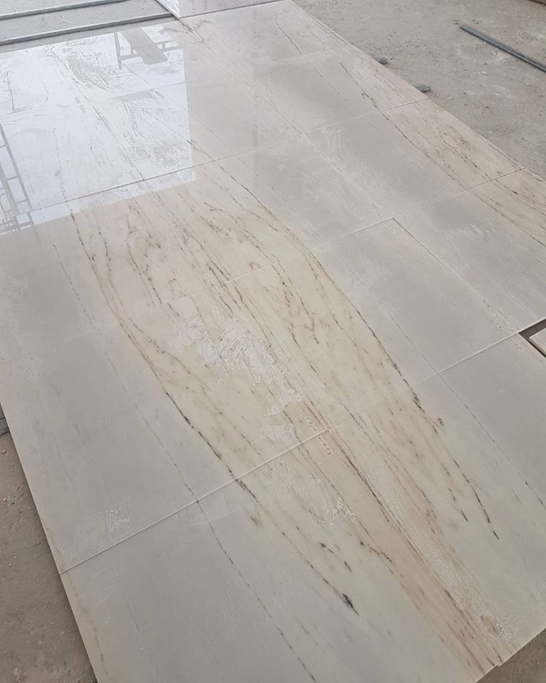 Estremoz White Marble Floor Bookmatched Tiles
