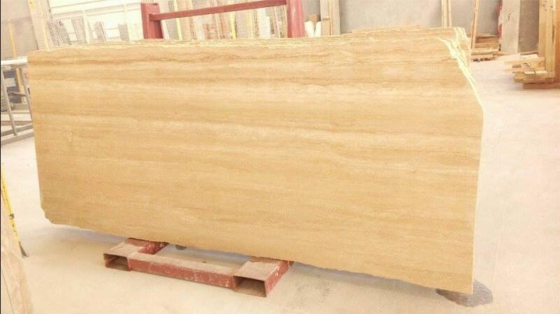 Filled & Polished Travertine Slabs Yellow Travertine Stone Slabs