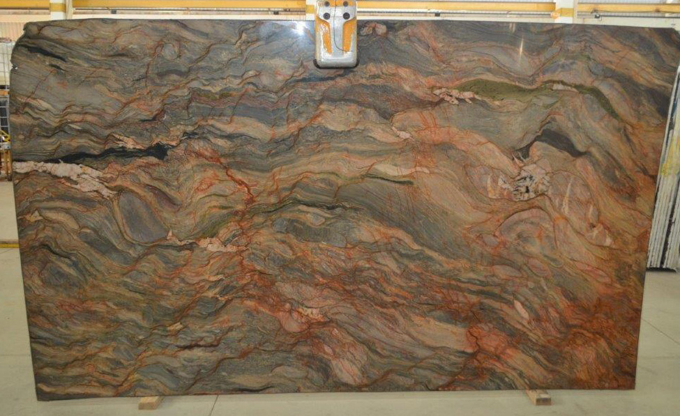 Fire Fusion Quartzite Stone Slabs Brazilian Multicolor Quartzite Slabs