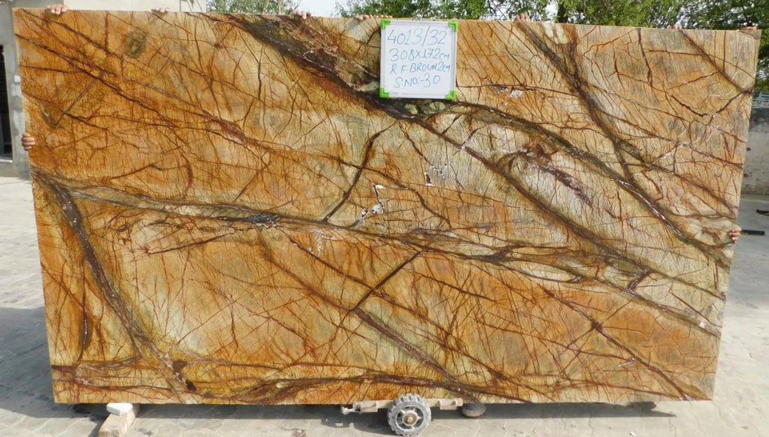 Forest Brown Marble Indian Brown Polished Marble Stone Slabs