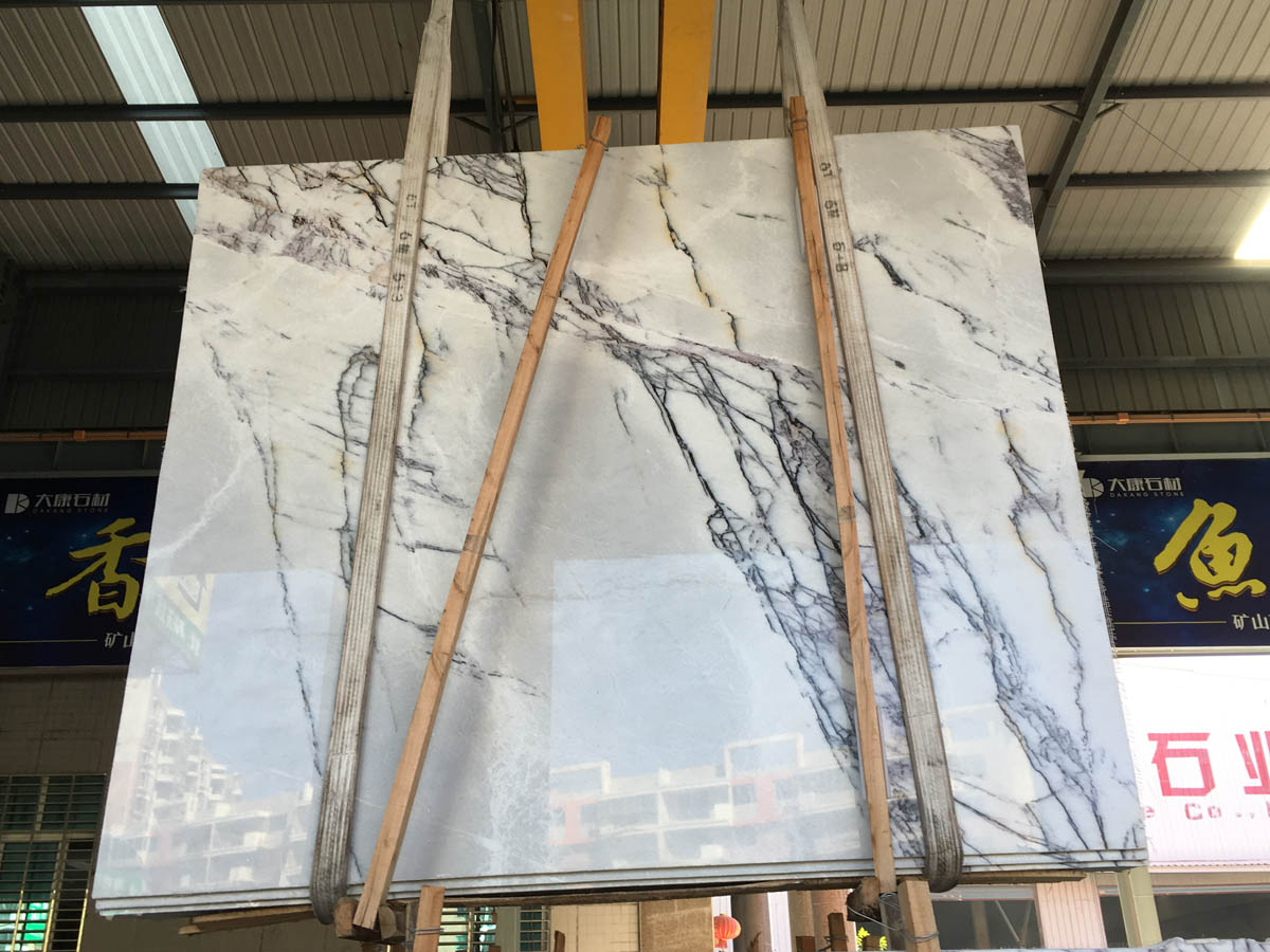 Fragrant Snow Plum Blossom White with Grey Marble Slabs for Kitchen Countertops