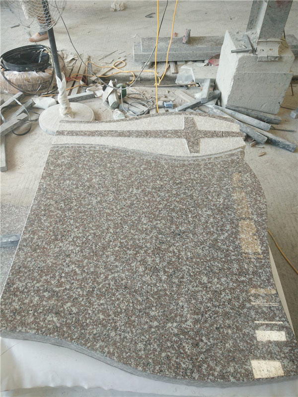 G664 Pink Granite Tombstone