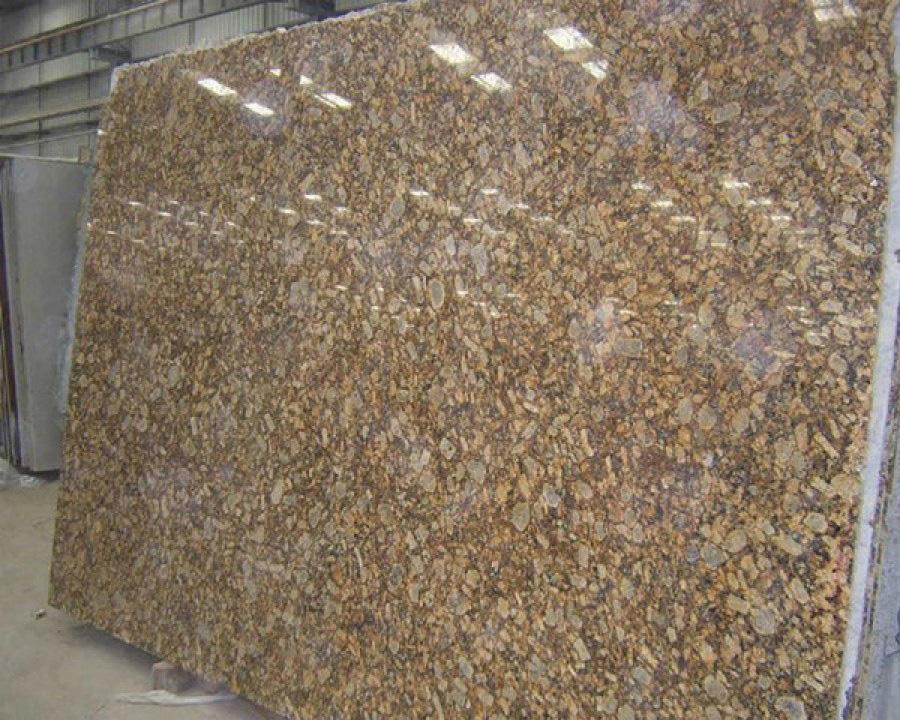 Giallo Fiorito Granite Slabs Polished Brown Granite Slabs