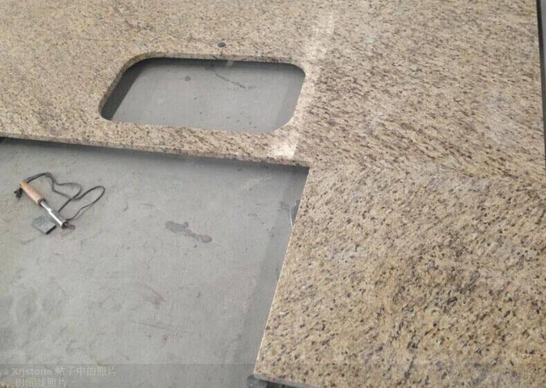 Giallo Ornamental Granite Polished Kitchen Countertop