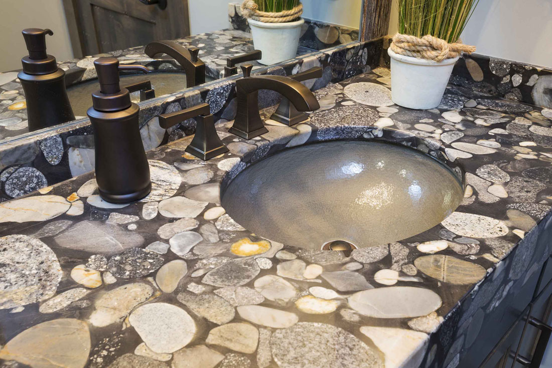 Gold Marinace Granite Bathroom Vanity Tops