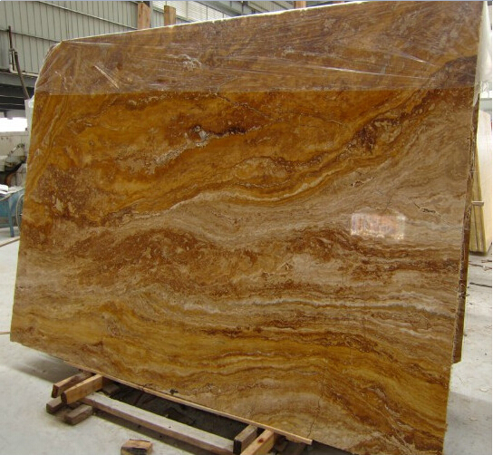 Gold Travertine Polished Yellow Slabs