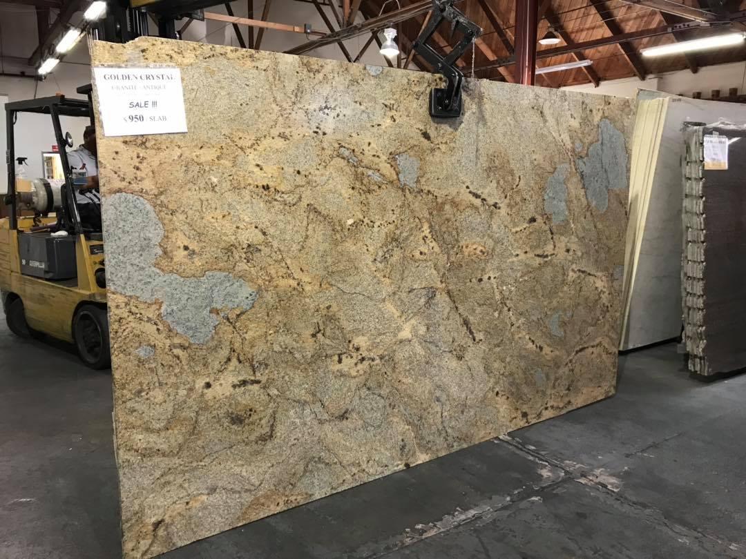 Golden Crystal Antique Slab Yellow Polished Granite Slabs
