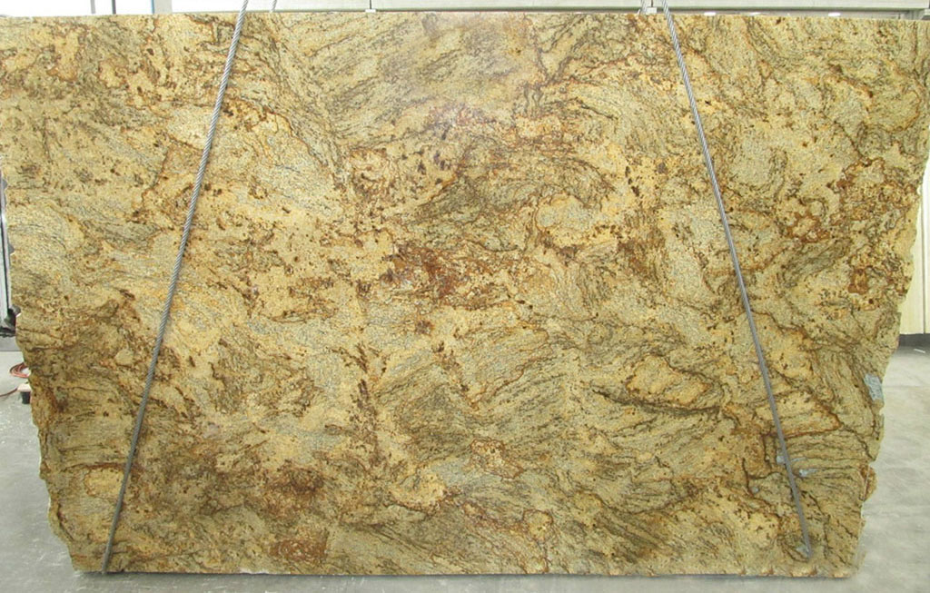 Golden Crystal Granite Slabs Brazilian Yellow Granite Polished Slabs