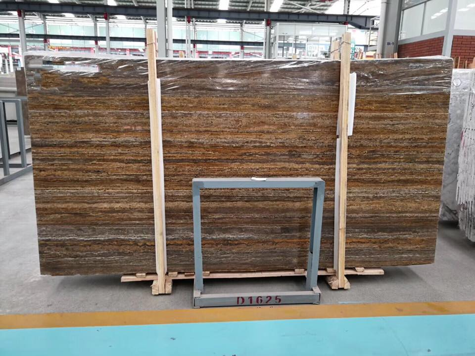 Golden Travertine Slabs Brown Polished Travertine Slabs