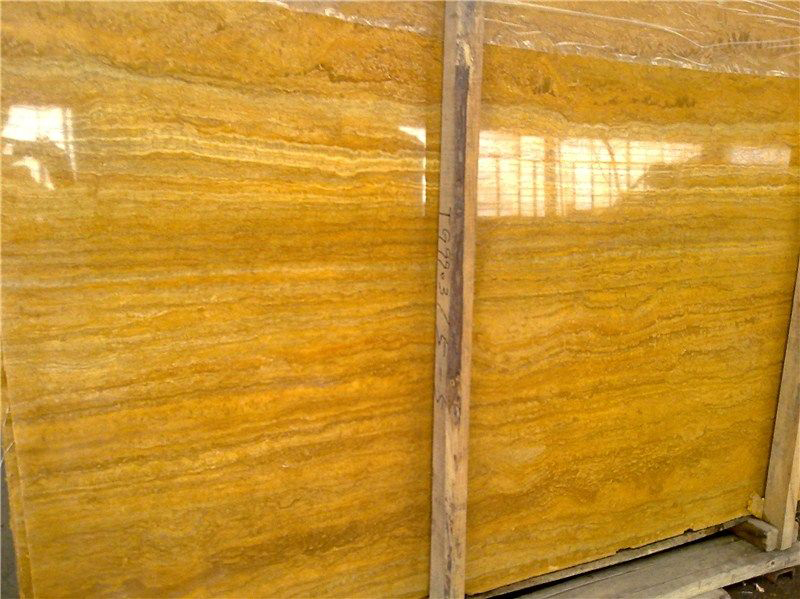 Golden Travertine Slabs Polished Yellow Travertine Slabs