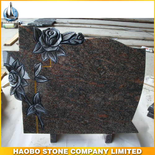 Granite Headstone Flower Carvings