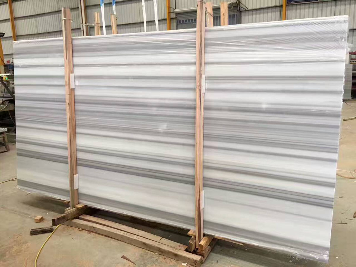 Greece Vertical Stripe White Marble Slabs