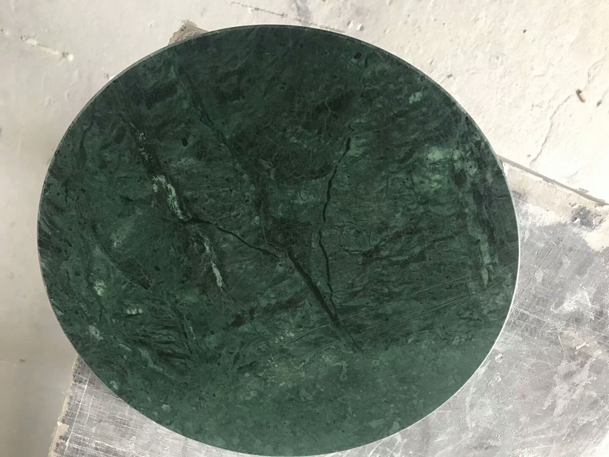 Indian Dark Green Marble Round Table Countertop