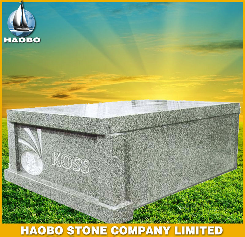 Grey Granite Tombstone Mausoleum Style HBMS004