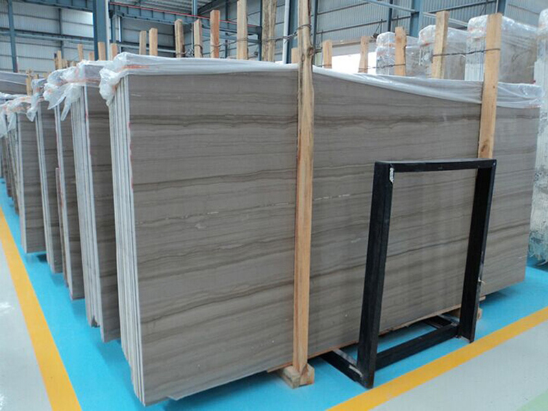 Grey Wooden Veins Marble Slabs with Top Quality