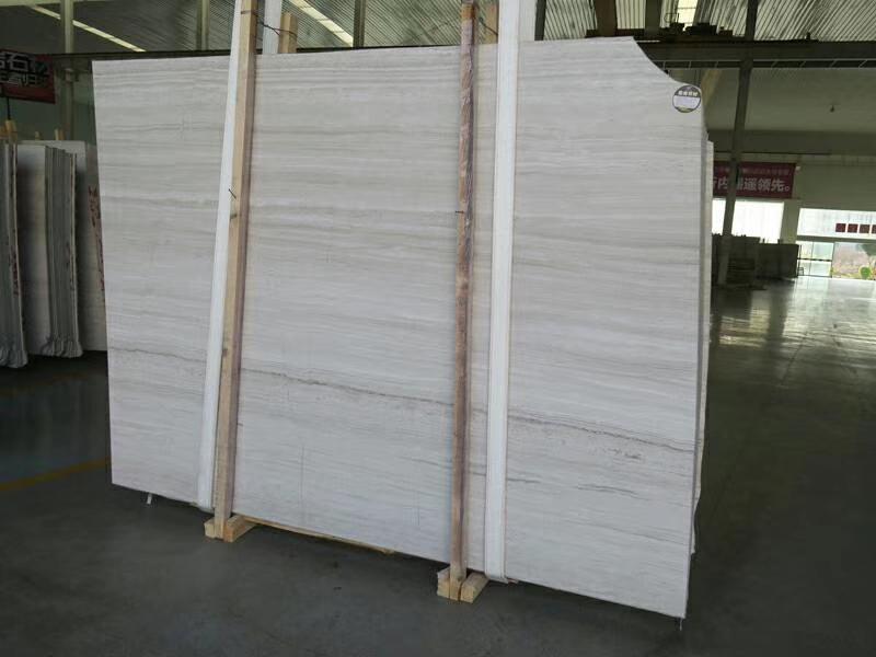 Guizhou White Serpeggiante Wood Line Wooden Vein Grey White Marble Slabs
