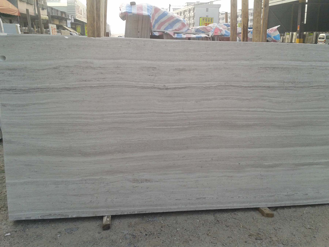 Guizhou White Serpeggiante Wooden Vein Grey White Marble Slabs
