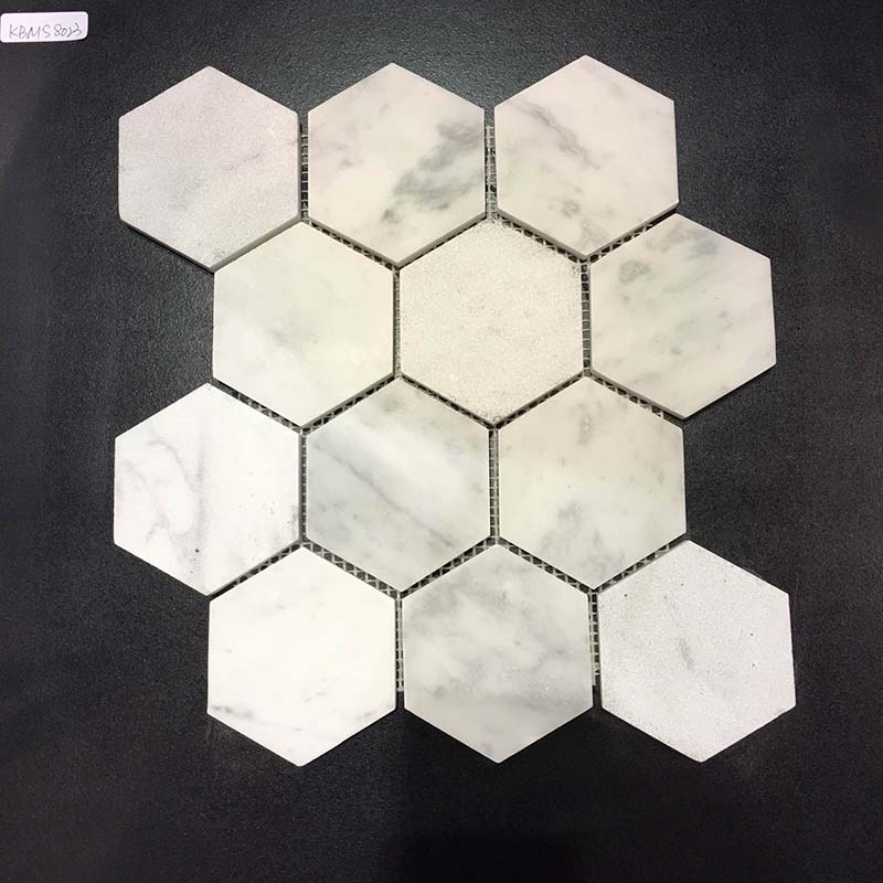 Hexagon Carrara White Marble Polished Mosaic