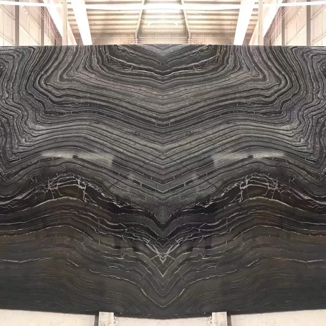 High Quality Black Tree Wood Veins Marble Slab