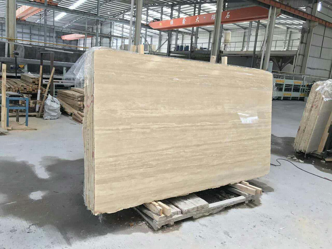High Quality Iran Travertine Slabs Yellow Polished Slabs