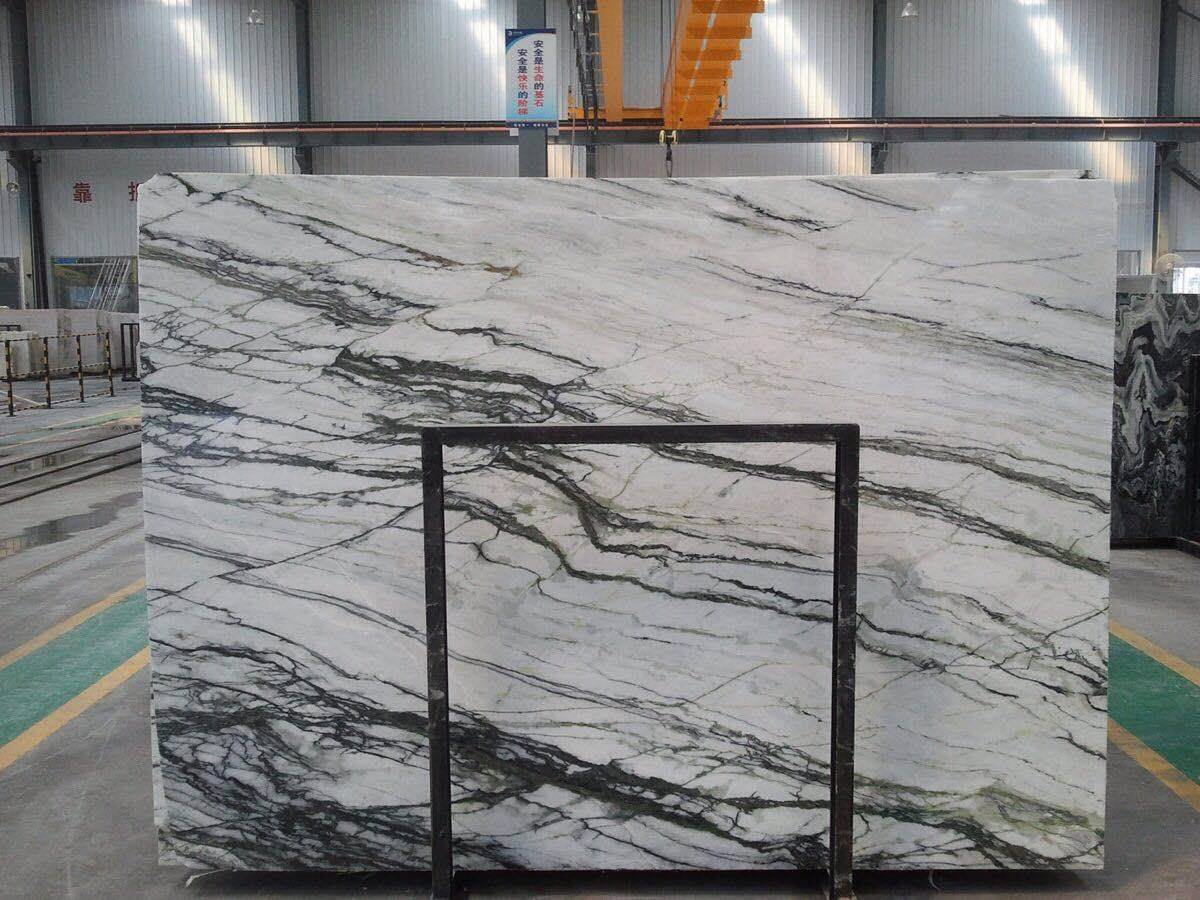 High Quality Orchid Jade White Marble Slabs with Green Vein for Interior Decoration