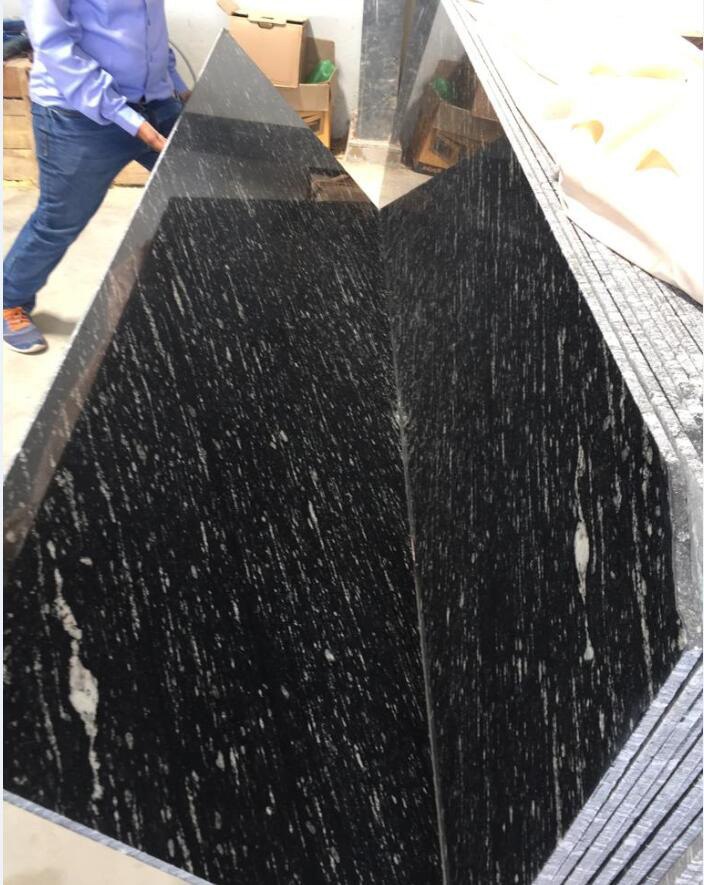 High Quality Swiss Black Polished Granite Slabs