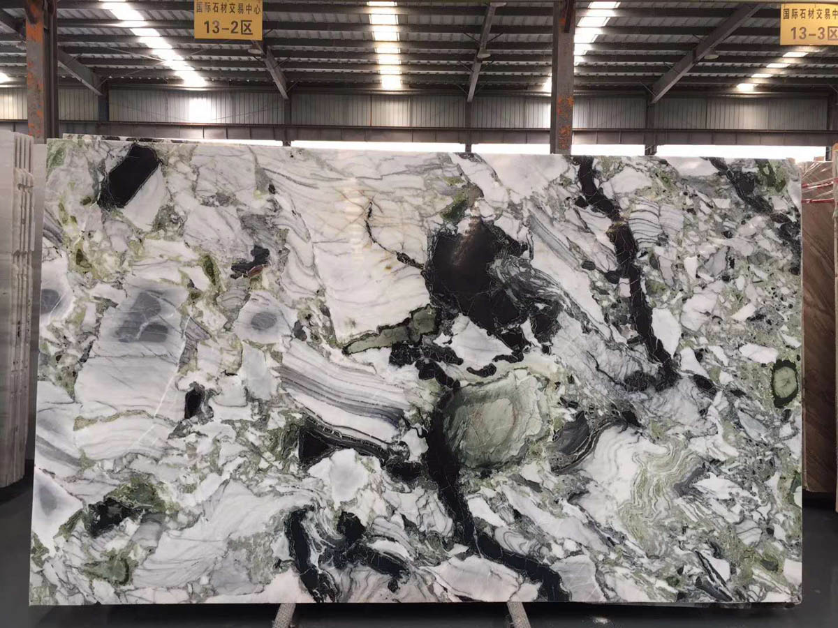 High Quality White Beauty Chinese Ice Green Marble Slabs