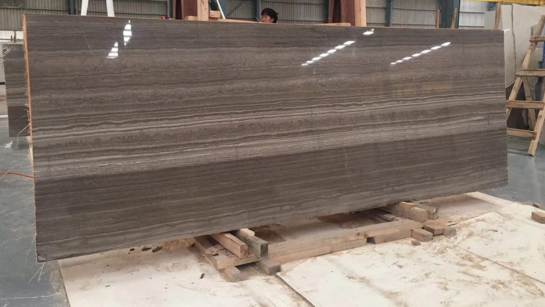 Hot Selling Polished Coffee Wooden Marble Slabs