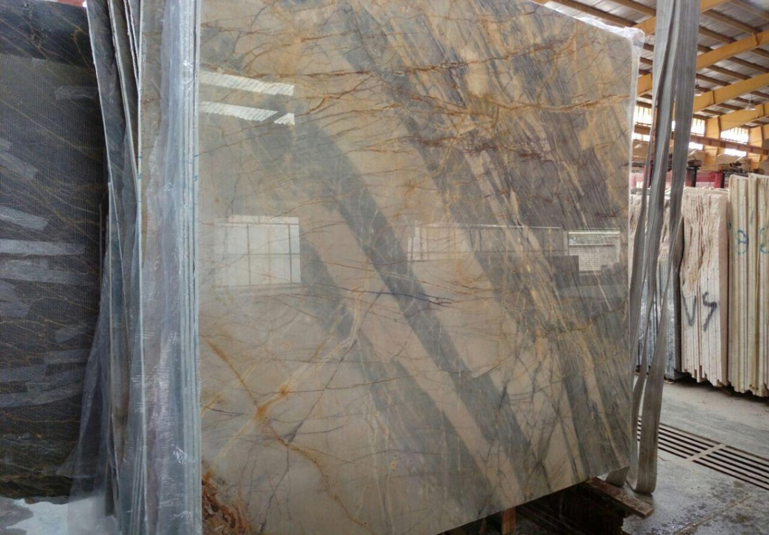 Ice and Fire Marble Yellow Polished Slabs