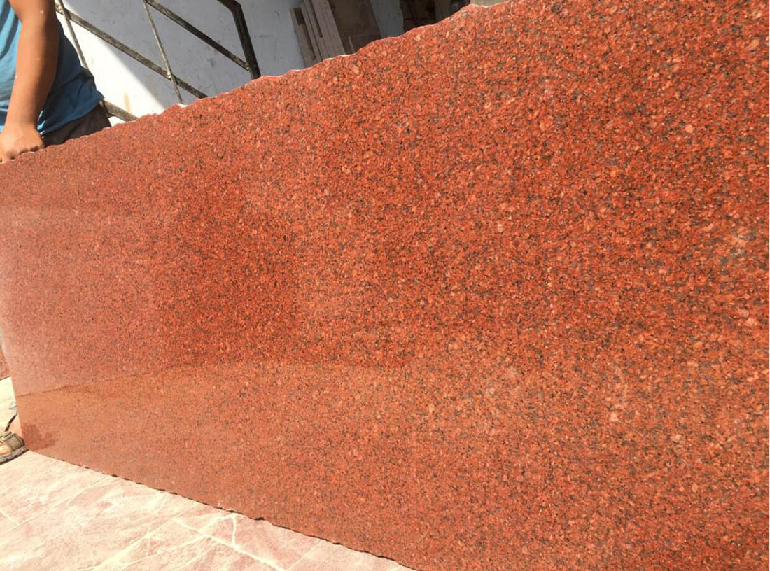 Imperial Red Polished Slabs India Red Granite Slabs