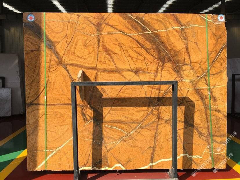 India Rainforest Brown Marble Slab for TV Background Decoration