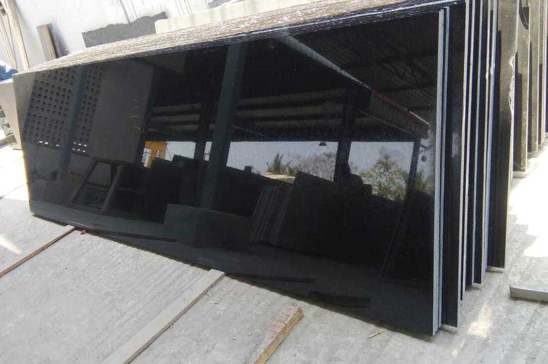 Indian Absolute Black Slabs Polished Black Granite Slabs from India
