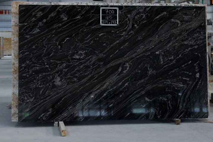 Indian Black Granite Black Forest Polished Slabs