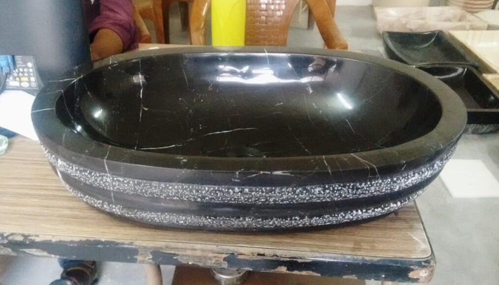 Indian Black Marble Stone Polished Sinks