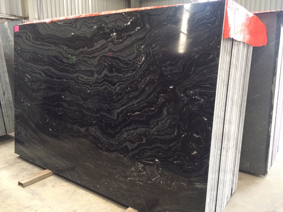 Indian Polished Slabs Black Fantasy Marble Slabs