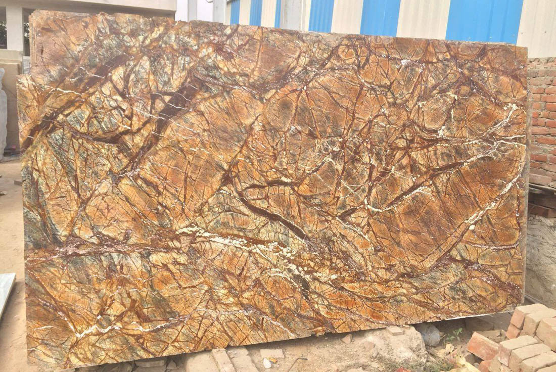 Indian Rainforest Marble Brown Marble Slabs