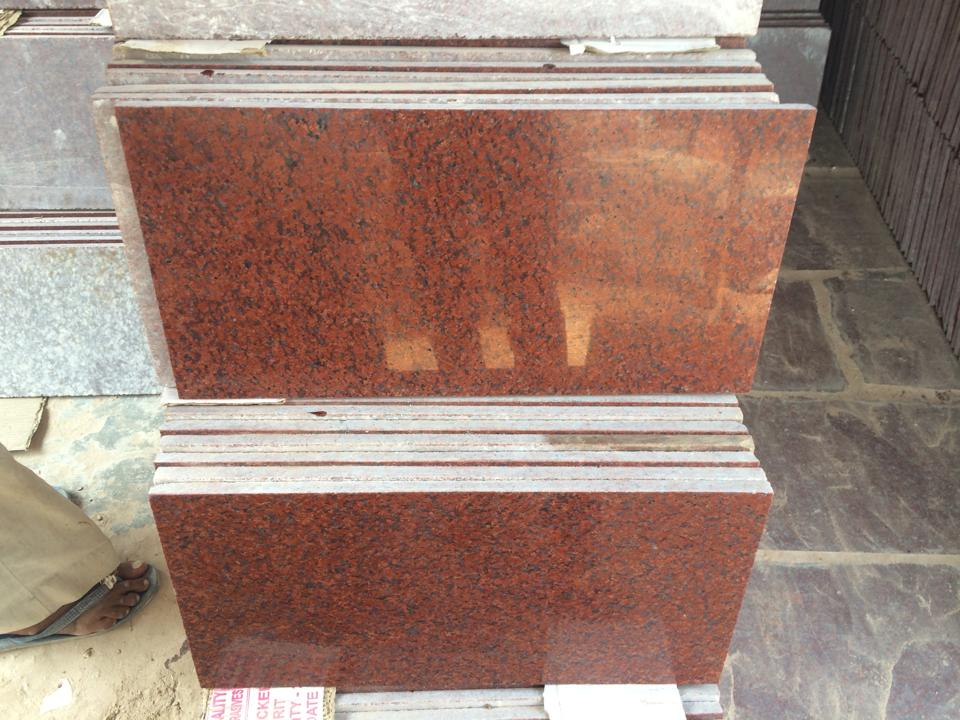 Indian Ruby Red Granite Flooring Tiles Polished Red Granite Tiles