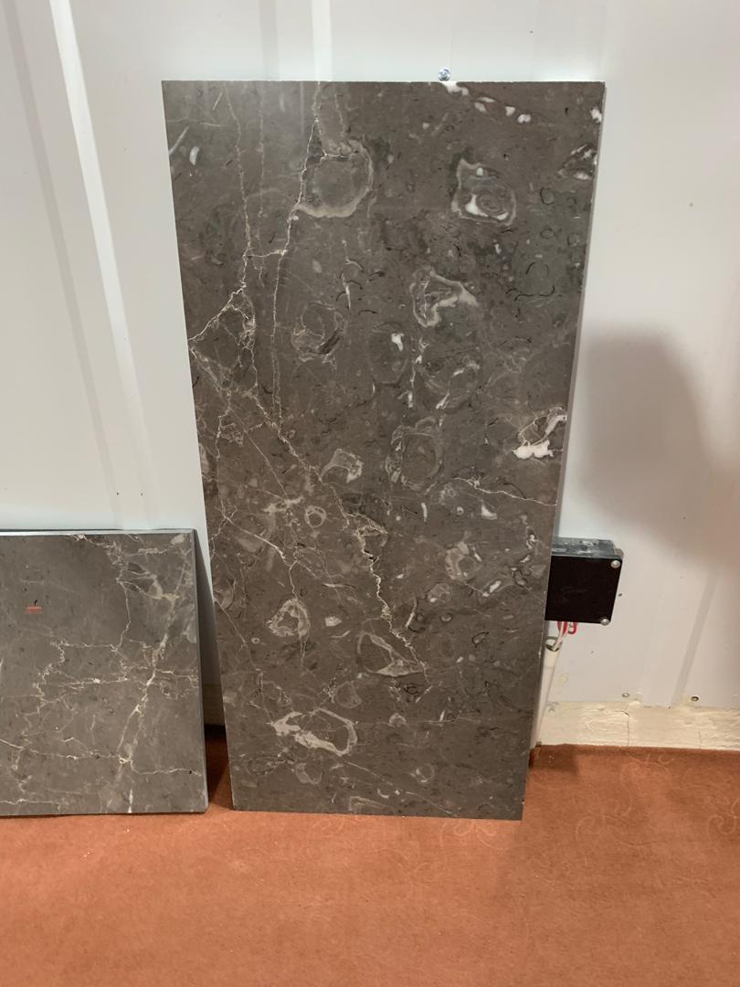 Iranian Fossiliferous Gray Marble Tiles Grey Marble Flooring Tiles