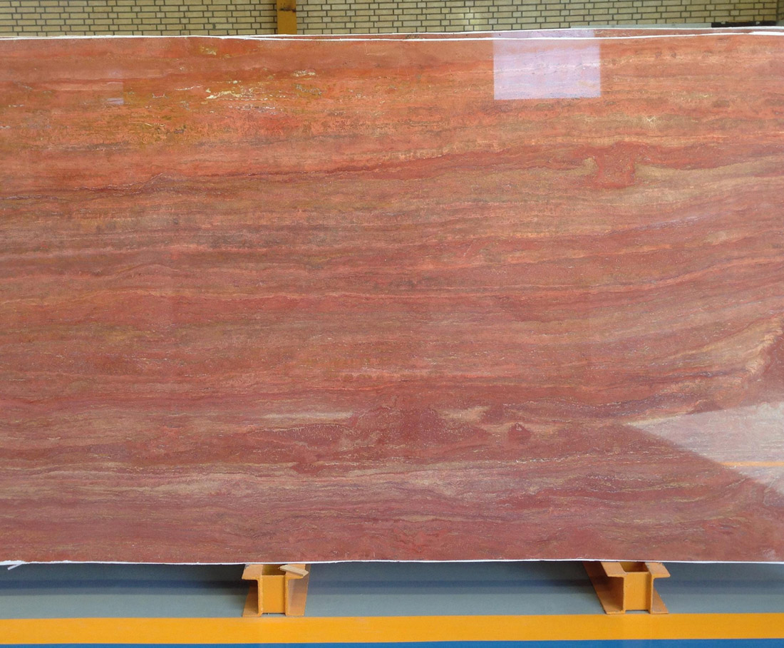 Iranian Polished Red Travertine Slabs