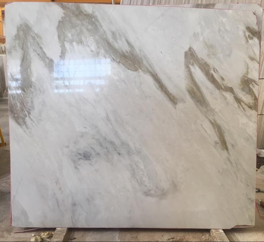 Iranian Polished White Marble Slabs with Brown Veins